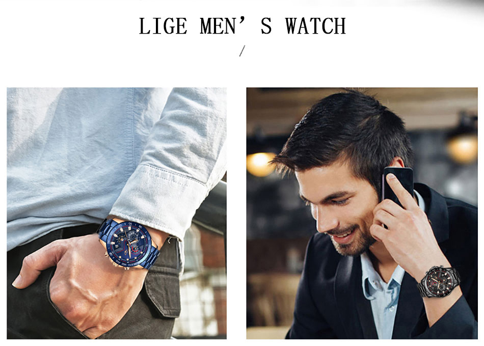 H02cffb5f152f42c68588fc2359a90920L Relogio Masculino LIGE Chronograph Mens Watches Stainless Steel Waterproof Date Quartz Watch Men Business Classic Male Clock+box