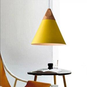 Image 2 - الشمال مجتمعة بار الخشب الحقيقي قلادة أضواء متعدد الألوان مصباح ألمنيوم نجفة مصابيح لغرفة الطعام تركيبة إضاءة المنزل