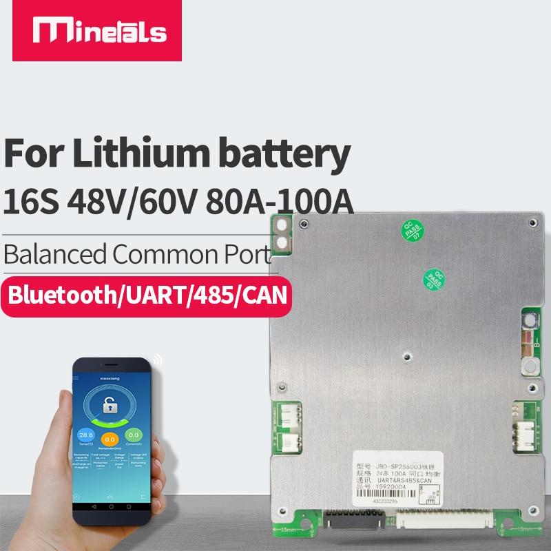 Inteligentny bms 16s 48v LiFePo4 60v Li-ion 80a 100a UART 485 może Bluetooth APP stan baterii ochrona temperatury
