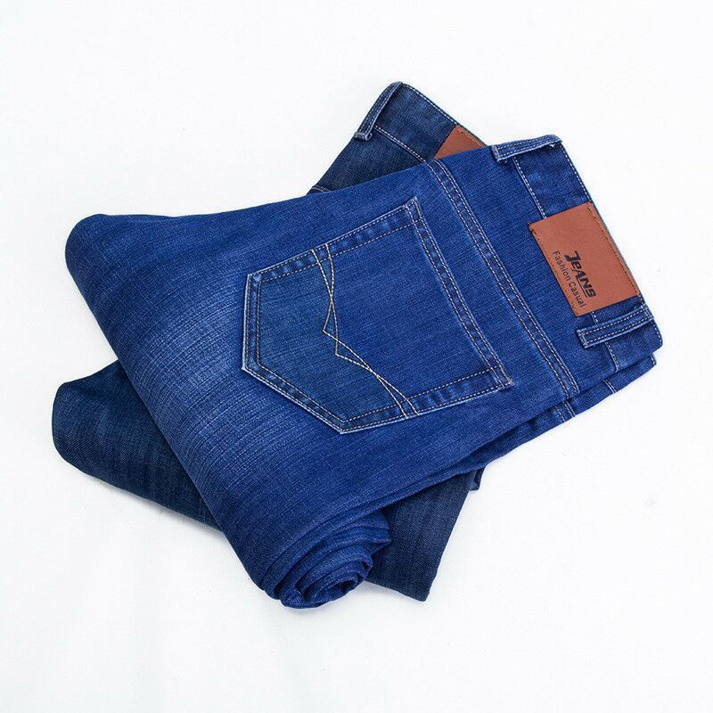 2019 Spring And Autumn New Jeans Men's Business Straight-Cut Korean-style Casual Men Cowboy Large Size Cotton Greenish Blue Midd