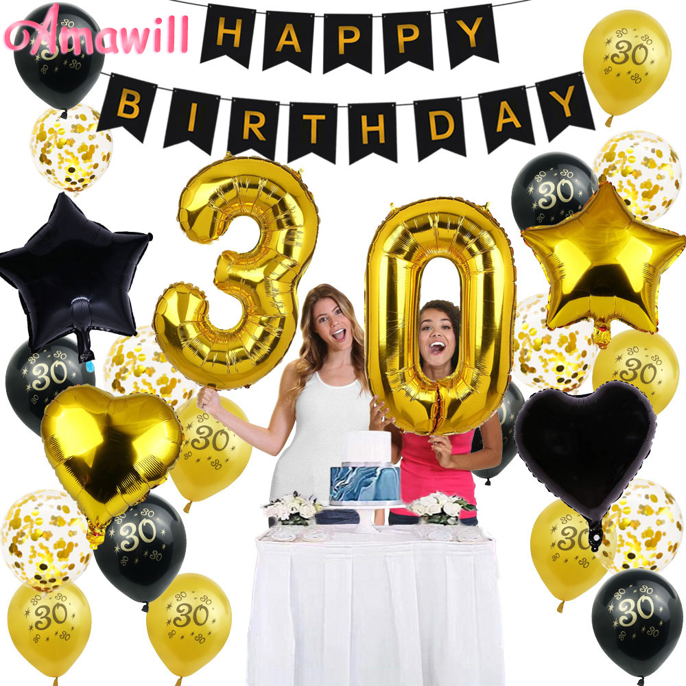 Amawill 30th Happy Birthday Balloons Banner <font><b>30</b></font> Years Old Confetti Balloons Men Women Perfect Party <font><b>Decoration</b></font> Supplies 8D image