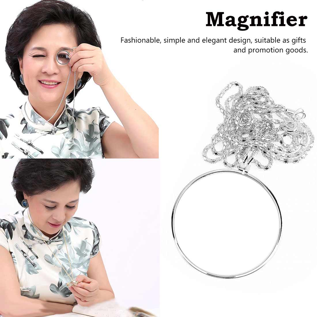 Necklace Magnifier Hanging Loupe 5X Utility Monocle Len Coin Magnifying Glass Pendant With 450mm Metal Chain For Increase Vision