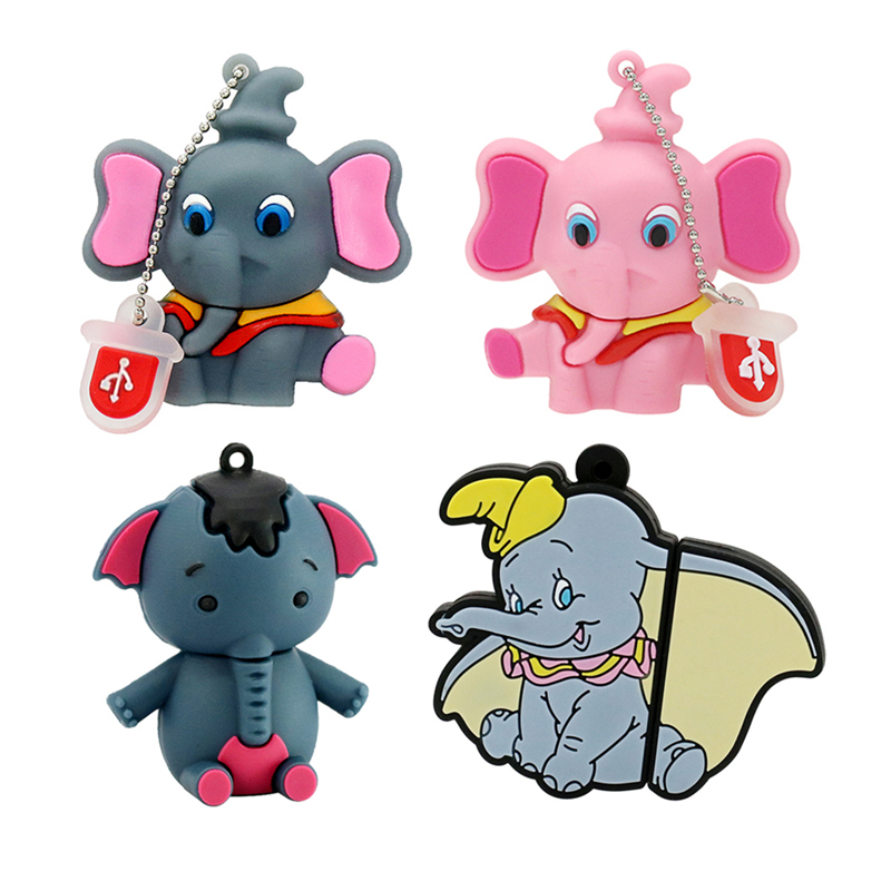 Pen Drive USB 2.0 Flash Drive Pink Gray Elephant Pendrive Mini Gift Animal 4GB 8GB 128GB 16GB 64GB 256GB 32GB Memory Stick Disk