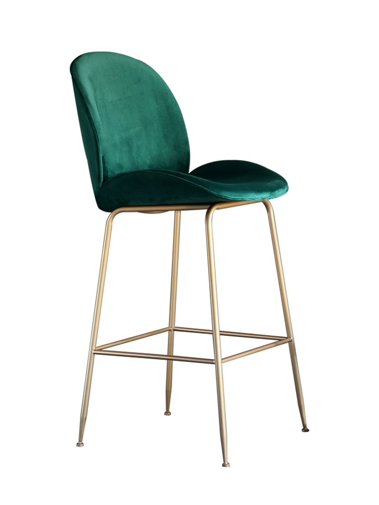 Nordic Backrest Bar Chair Iron   Leisure Home High Stools Tea Shop   For Sale Gold Metal