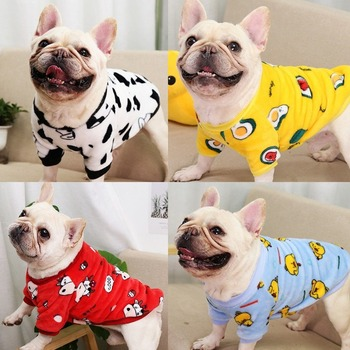 Red New Year Dog Clothes Clothes Autumn Winter Warm Pajamas Coat Two-legged Coral Fleece Hoodies Medium French Bulldog Boy Ropa image