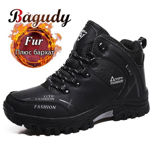 男性冬の雪のブーツスーパー暖かい男性ハイキングブーツ高品質防水レザースニーカー屋外ノンスリップ男性作業靴 39 47