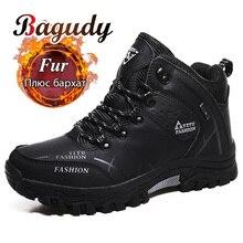 Erkekler kış kar botları süper sıcak erkekler yürüyüş botları yüksek kaliteli su geçirmez deri Sneakers açık kaymaz erkekler iş ayakkabısı 39 47