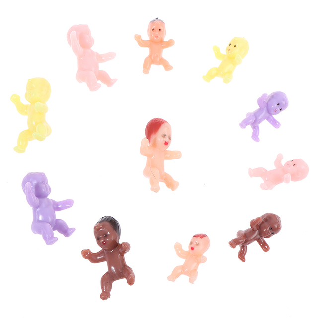 Kids Small Toy Accessories 10 PCS Cute Baby Shower Mini Doll Plastic Child Full Moon Gifts Boys Girls Party Supplies 4