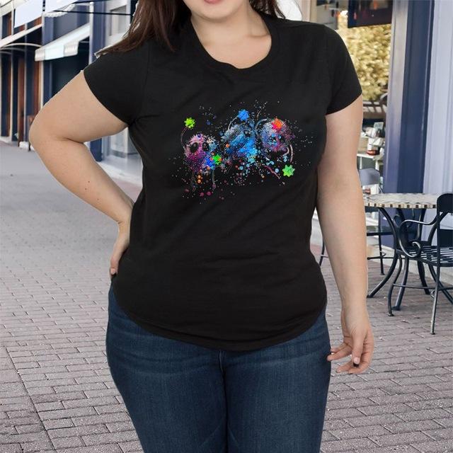 Plus Size Women's Anime Printed Black T-Shirt