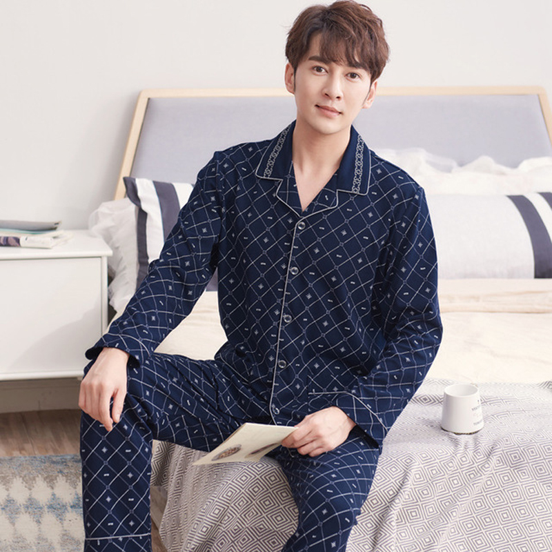 Pajamas Men Cotton Clothing-Set Winter Plus-Size Home New Plaid Autumn for Cardigan Pants