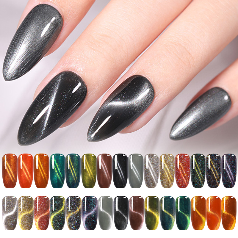 NICOLE DIARY 8ml Holo Magnetic Gel Polish Cat Eye UV Gel Lacquer Magnet Nail Pure LED Gel Sparkling Gel Varnishes Decoration