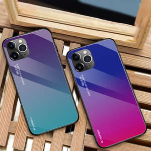 Image 5 - 10 Pieces Tempered Glass Phone Case For Apple iPhone 11 Pro XS Max XR X 8 Plus 7 6 6S Gradient Color Bumper Protective Cover