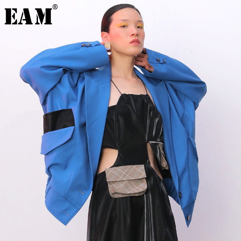 [EAM] Loose Fit Spliced Mixed Color Pleated Jacket New Lapel Long Sleeve Women Coat Fashion Tide Spring Autumn 2020 1B744