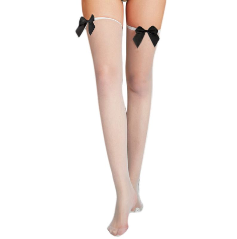 Women Sexy Sheer Thigh High Stockings Solid Color Satin Bowknot Over Knee Socks A0NF
