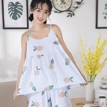 2019 New Woman Pajama Set Round Neck Print Cartoon Top And Bow Front Short Sleeve Casual Pajama Set cartoon print pajama set
