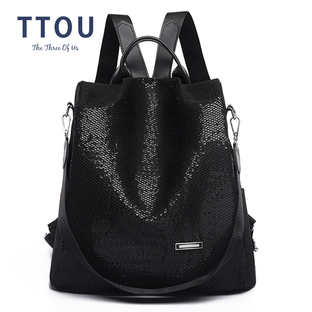Hot Sale Anti-theft Multifunction Women Backpack Large Capacity Sequins Daily School Bag Travel Shoulder Casual Wild Backpacks