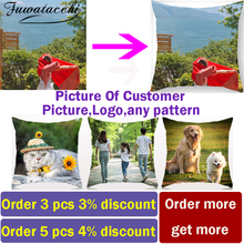 Fuwatacchi Linen Double Sided Cushion Cover Optional Customized Print Pillow Covers Gift Throw Pillowcase Personal Photos