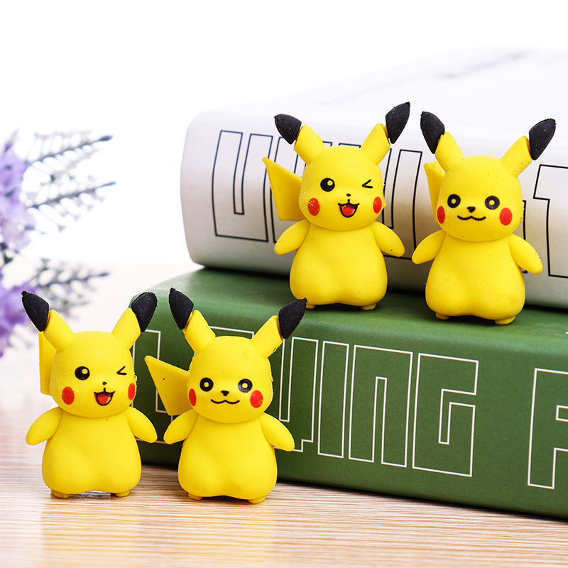 4 Pcs/lot 3D Pikachu Removable Rubber Eraser Primary Student Prizes Promotional Gift Stationery