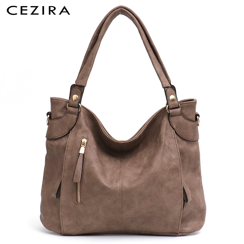 CEZIRA Luxury PU Hobo For Women Fashion Design Zip Pockets Handbag Ladies Large Casual Tote Shoulder Bags Female Crossbody Bolsa