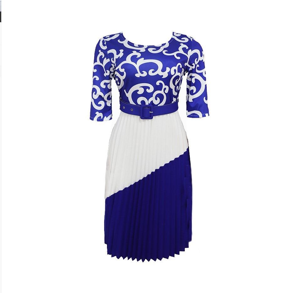 Women Plus Size Office Work  A-line Pleated Midi Dress Female Summer Half Sleeve Floral Print Elegant Casual Party Dresses Belt