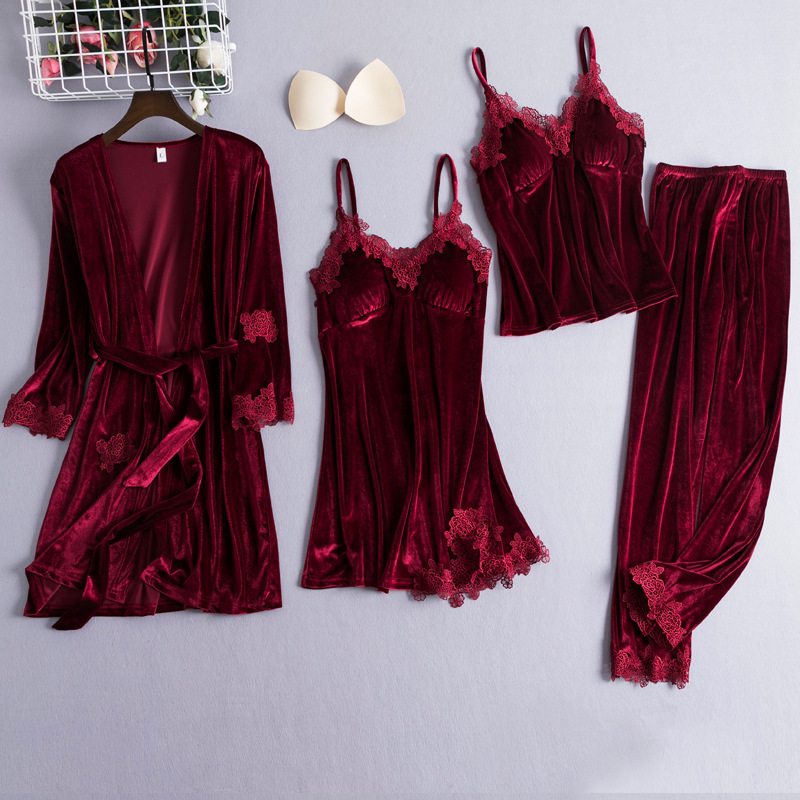 Chinese Style Female Velour Robe Gown Classic Burgundy Sleepwear 4PCS Nighty Set Lace Patchwork Nightwear Bathrobe Sexy Negligee
