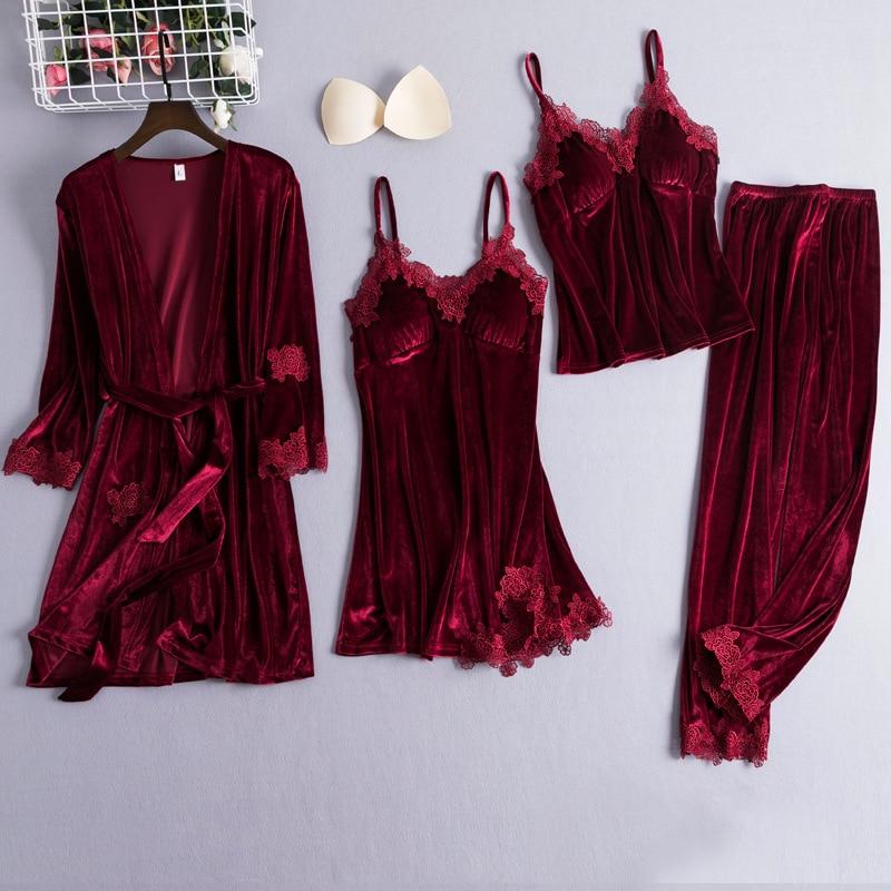 Chinese Style Female Velour Robe Gown Classic Burgundy Sleepwear 4PCS Nighty Set Lace Patchwork Nightwear Bathrobe Sexy Negligee|Robes|   - AliExpress