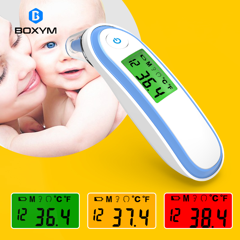 BOXYM Medical Household Infrared Fever Thermometer Digital Baby Adult Non-contact Laser Body Temperature Ear Thermometer CE FDA title=