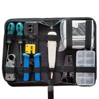 Rj45 kit de ferramentas testador rede lan cabo fio cortador crimper friso alicate ferramenta manutenção conjunto saco