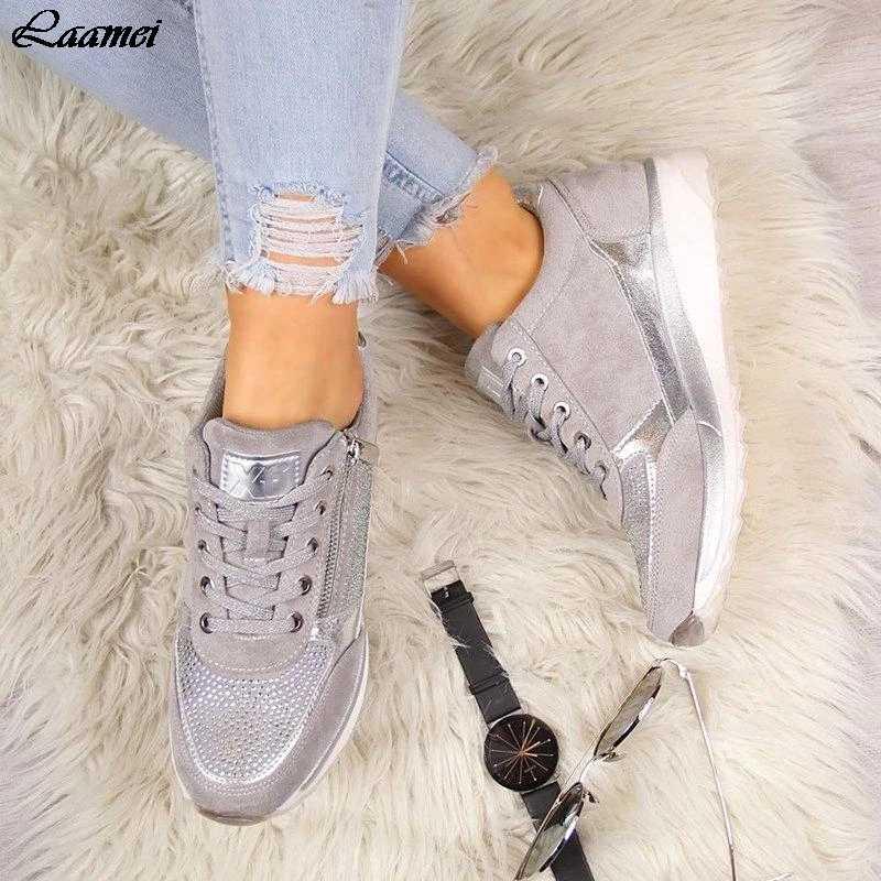 Donne Casual Scarpe 2020 Nuovo Cuneo di Modo Scarpe Basse Zipper Lace Up Delle Signore Comode Scarpe Da Tennis Femminile Scarpe Vulcanizzate