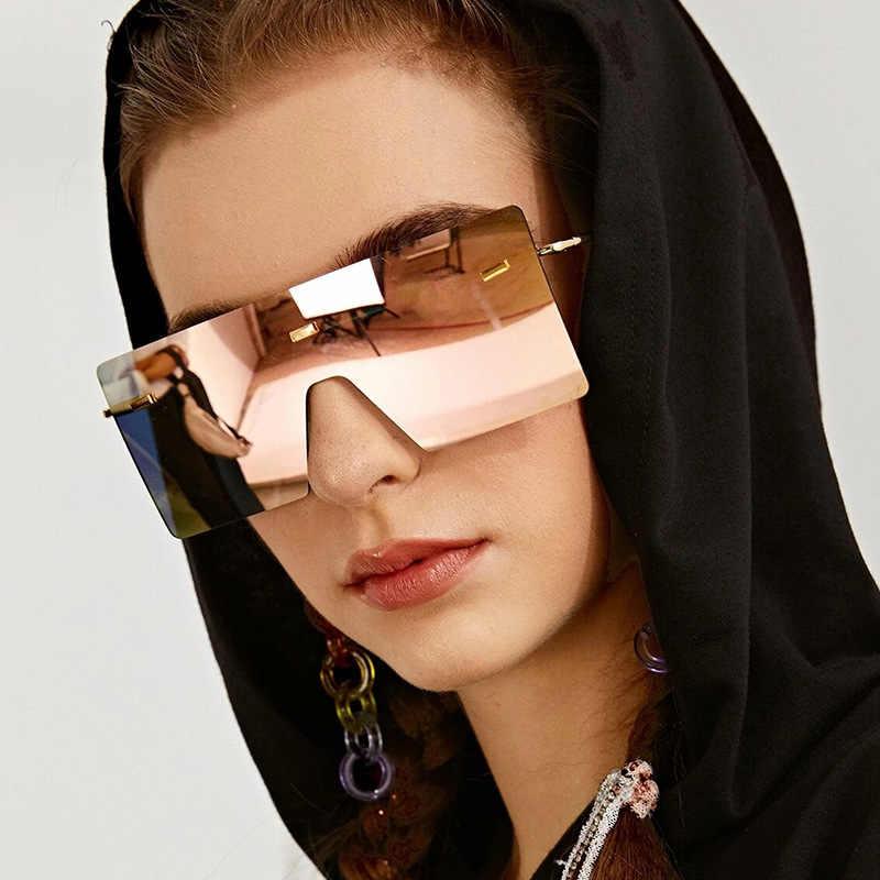 2020 المتضخم البني النظارات الشمسية النساء الرجعية Vintage النظارات الشمسية الفاخرة العلامة التجارية بدون إطار نظارات oculos دي سول feminino ظلال كبيرة