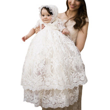Vintage Infant Baby Girls Flower Dresses Lace Christening Gowns Newborn Babies Baptism Clothes Princess Birthday Party Dresses