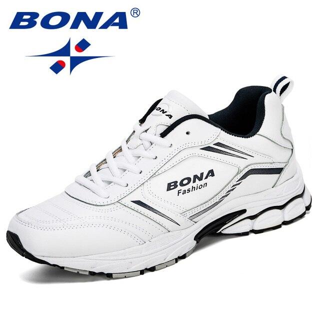 BONA 2019 New Designers Cow Split Running Shoes Men Zapatillas Hombre Deportiva High Quality Men Trainer Sneakers Man Footwear
