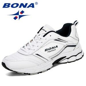 Image 1 - Мужские кроссовки из коровьего спилка BONA, черные дизайнерские кроссовки для бега, спортивная обувь, 2019