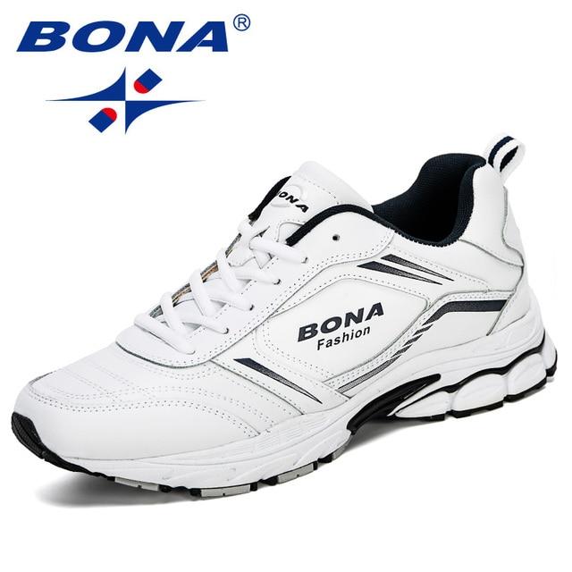 Мужские кроссовки из коровьего спилка BONA, черные дизайнерские кроссовки для бега, спортивная обувь, 2019