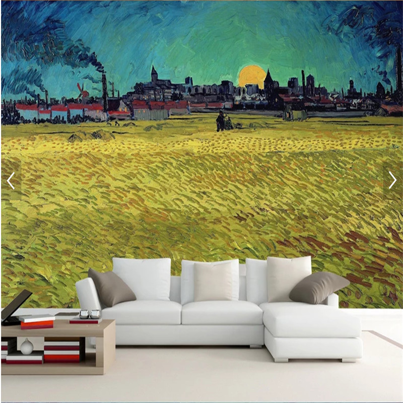 Photo Wallpaper 3d Van Gogh Oil Painting Works Golden Wheat Field Living Room Bedroom Study Wall Murals Wall Papers Home Decor