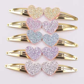 10pcs/lot Small Size Girls Hairclips Glitter Heart  Birthday Gift Baby Hair Accessories Kids Clip For Children