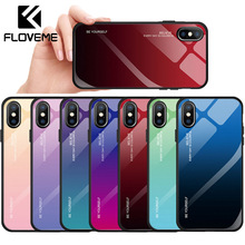 FLOVEME Glass Case For iPhone XR X XS Max Gradient Colorful 7 8 6 Plus Luxury Fashion Back Cover Cases Shell