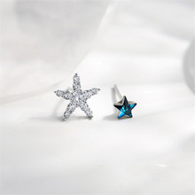 925 silver Stud earrings Asymmetric pentagram pure and fresh contracted lovely Set auger women Fashion jewelry