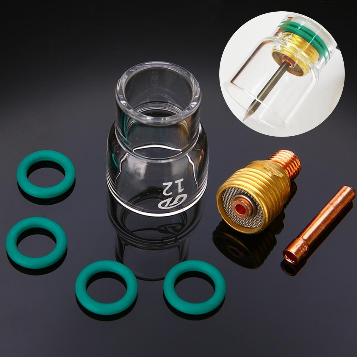 7 teile/satz #12 Pyrex Glas Tasse Kit Stubby Spannzangen Körper Gas Objektiv Wig-schweißbrenner Für WP-9/20 /25 Mayitr Schweißen Zubehör