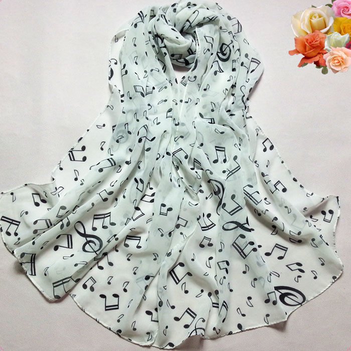 1PC Women Lady Musical Note Chiffon Neck Scarf Shawl Muffler Scarves silk scarf luxury 2020 foulard femme soie de marque de luxe(China)