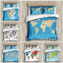 Green world map colorful Duvet Cover Sets custom Bed Linens Bedding Sets with Pillowcase king Size Bedclothes Comforter Covers
