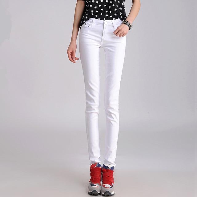 FSDKFAA las mujeres de talla grande vaqueros coreanos Delgado pequeño vaqueros de pierna pantalones pitillo Casual Color caramelo negro apilado Slim polainas 4