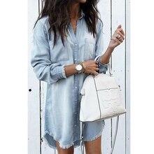 Lguc.H 빈티지 여성 청바지 셔츠 2020 데님 셔츠 대형 플러스 사이즈 여성 대형 셔츠 느슨한 키가 큰 여자 그레이 블루 그린 5xl 4xl