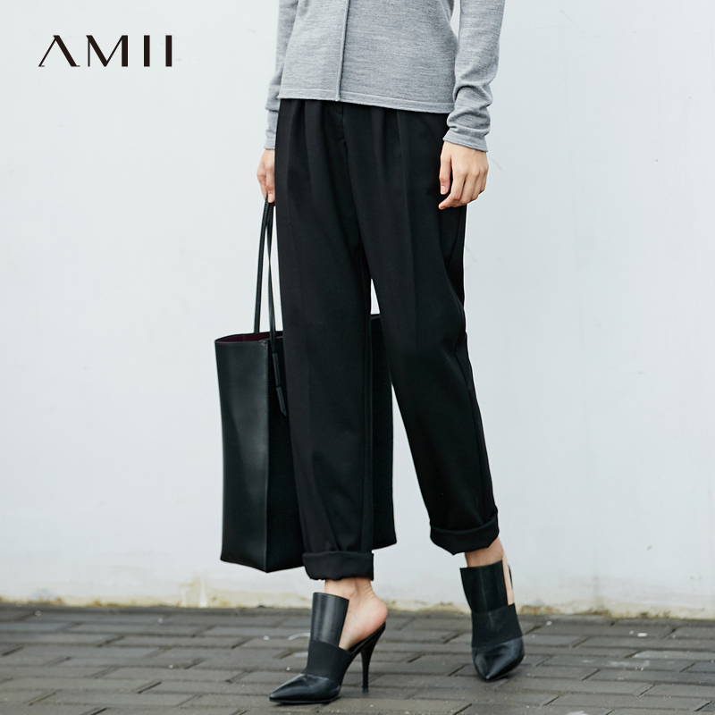 Amii Atunmn Women Straight Pants Causal Solid Loose Pockets Office Lady Long Pants 11776073