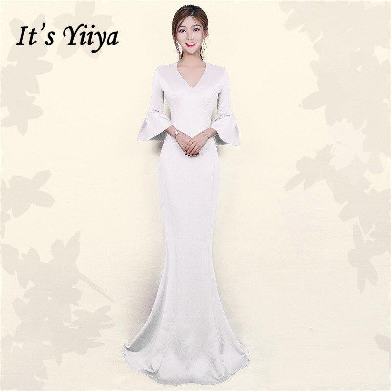 Evening Gown It's Yiiya DX393 Three Quarter Sleeve Ruffles Abendkleider V-Neck Mermaid Plus Size Floor-Length Robe De Soiree