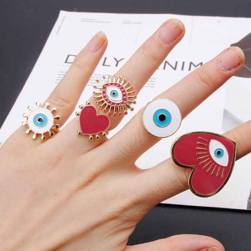 Heart Enamel Evil Eye เปิดผู้หญิงแหวนปรับเครื่องประดับ