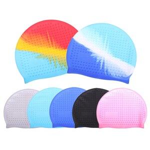 Большая водонепроницаемая шапка для плавания, силиконовая шапочка для купания в бассейне, шапка для купания с длинным ворсом, защита для уш...