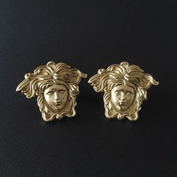 DM 2pcs/Set Creative Brass Pure Copper Portrait Drawer Cabinet Pulls Door Handle Wardrobe Locker Furniture Kits Knobs 2021 New