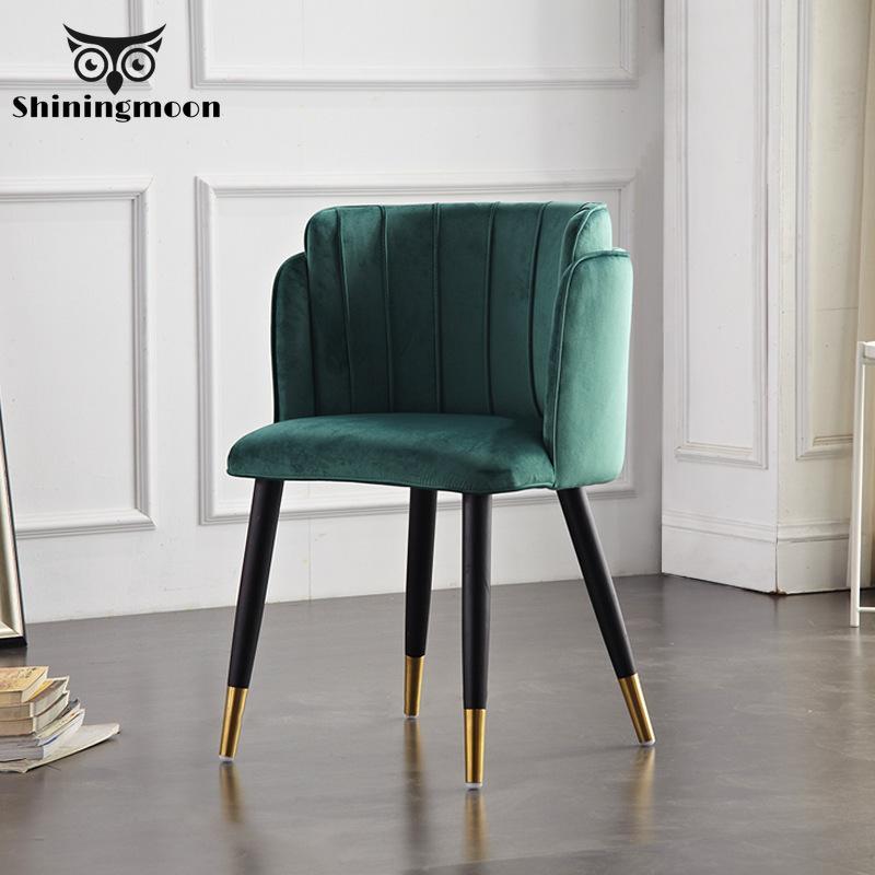 Nordic Iron Metal Soft Velvet Dining Chair Home Dresser Wedding Feast Dinner Bar Coffee Sofa Stool Modern Dining Room Chairs