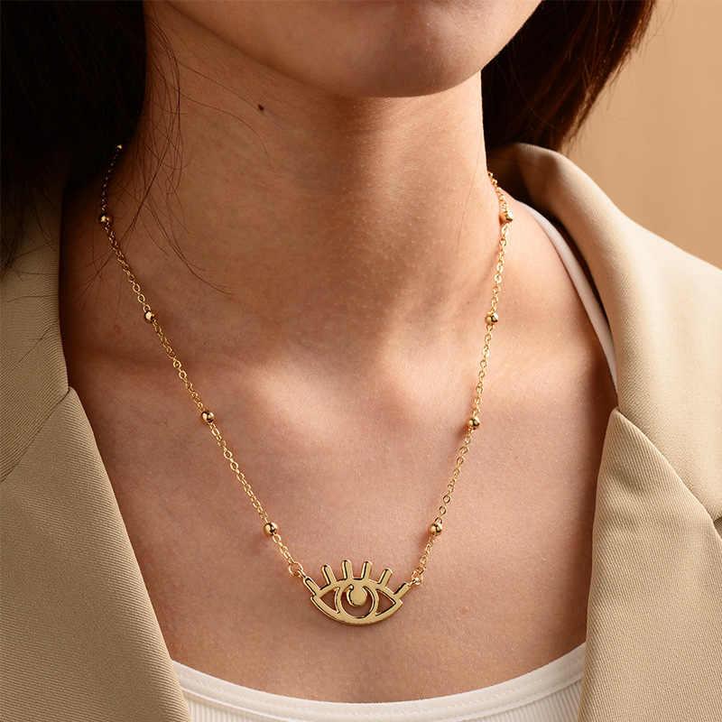 Collar con colgante de ojo malvado lleno de oro para mujer, collar de moneda griega, joyería de ojo largo, collar de ojo turco olho grego CZ